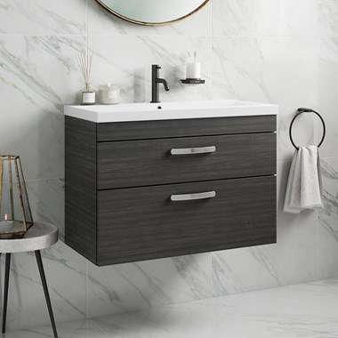 Emily 800mm Wall Mounted 2 Drawer Vanity Unit & Basin - Hacienda Black