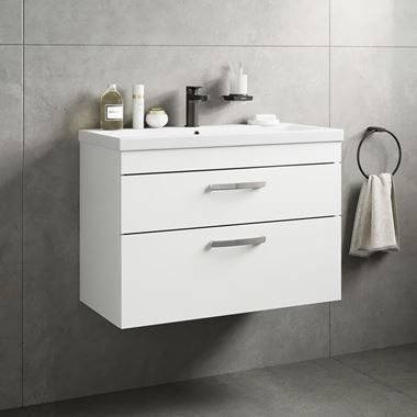 Emily 800mm Wall Mounted 2 Drawer Vanity Unit & Basin - Gloss White