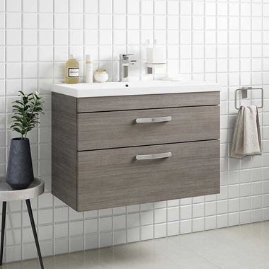 Emily 800mm Wall Mounted 2 Drawer Vanity Unit & Mid-Edged Basin - Grey Avola
