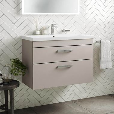 Emily 800mm Wall Mounted 2 Drawer Vanity Unit & Basin - Matt Stone Grey