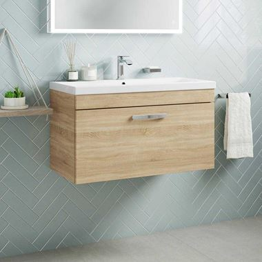 Emily 800mm Wall Mounted 1 Drawer Vanity Unit & Basin - Natural Oak