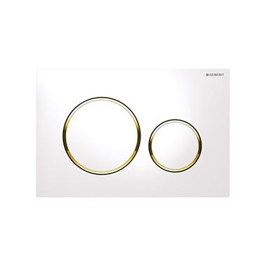 Geberit Sigma20 Dual Flush Plate - White/Gold Plated