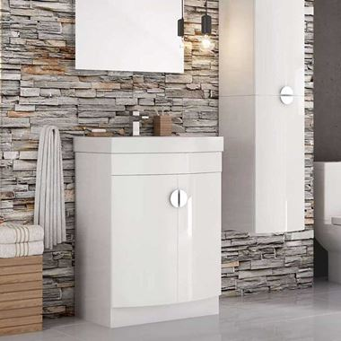Harbour Acclaim D-Shape 600mm Floorstanding Gloss White Vanity Unit & Basin