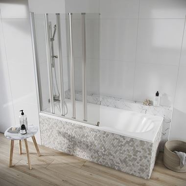 Harbour AcquaShield Acqua Arm 6mm Five Panel Bath Screen - 1500 x 1000mm