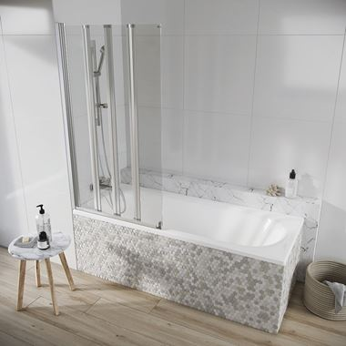 Harbour AcquaShield Acqua Arm 6mm Four Panel Bath Screen - 1500 x 800mm
