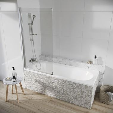 Harbour AcquaShield Acqua Arm 6mm Single Panel Bath Screen - 1500 x 800 mm