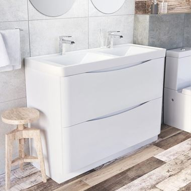 Harbour Clarity 1200mm Floorstanding Vanity Unit & Double Basin