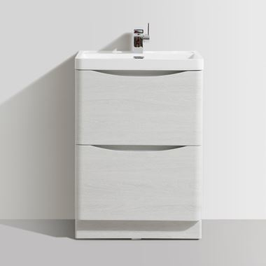 Harbour Clarity 600mm Floorstanding Vanity Unit & Basin - White Ash