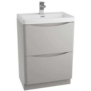 Harbour Clarity 600mm Floorstanding Vanity Unit & Basin - Grey