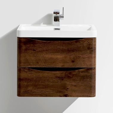 Harbour Clarity 600mm Wall Mounted Vanity Unit & Basin - Chestnut