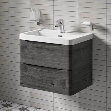Harbour Clarity 600mm Wall Mounted Vanity Unit & Basin - Graphite Oak