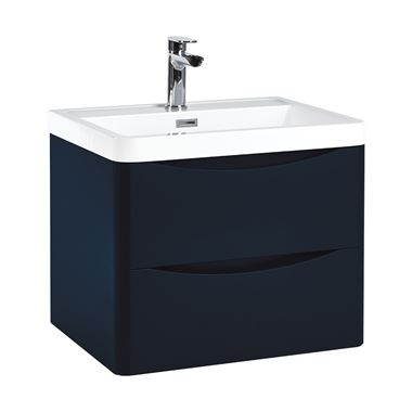 Harbour Clarity 600mm Wall Hung Vanity Unit & Basin - Indigo Blue