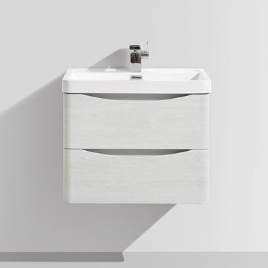 Harbour Clarity 600mm Wall Mounted Vanity Unit & Basin - White Ash