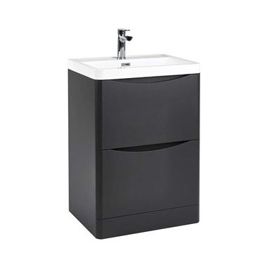 Harbour Clarity 600mm Floorstanding Vanity Unit & Basin - Matt Graphite Grey