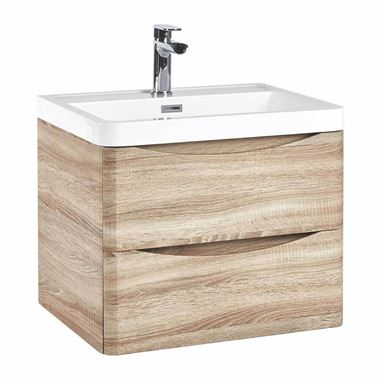 Harbour Clarity 600mm Wall Hung Vanity Unit & Basin - Bardolino Driftwood Oak