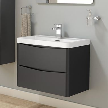 Harbour Clarity 600mm Wall Hung Vanity Unit & Basin - Matt Graphite Grey