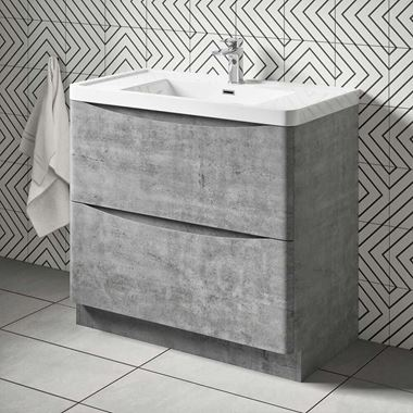 Harbour Clarity 900mm Floorstanding Vanity Unit & Basin - Concrete