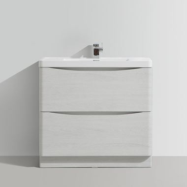 Harbour Clarity 900mm Floorstanding Vanity Unit & Basin - White Ash