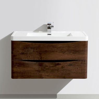 Harbour Clarity 900mm Wall Mounted Vanity Unit & Basin - Chestnut