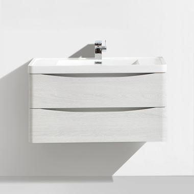 Harbour Clarity 900mm Wall Mounted Vanity Unit & Basin - White Ash