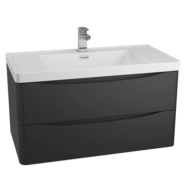 Harbour Clarity 900mm Wall Mounted Vanity Unit & Basin - Black
