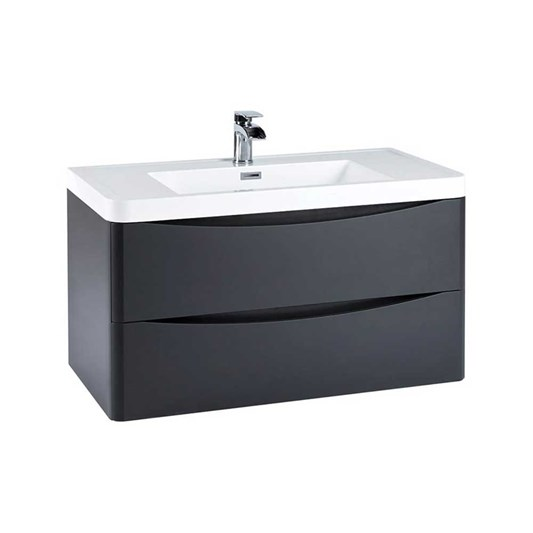 Harbour Clarity 900mm Wall Hung Vanity Unit & Basin - Matt Graphite Grey