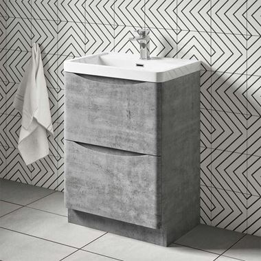 Harbour Clarity 600mm Floorstanding Vanity Unit & Basin - Concrete