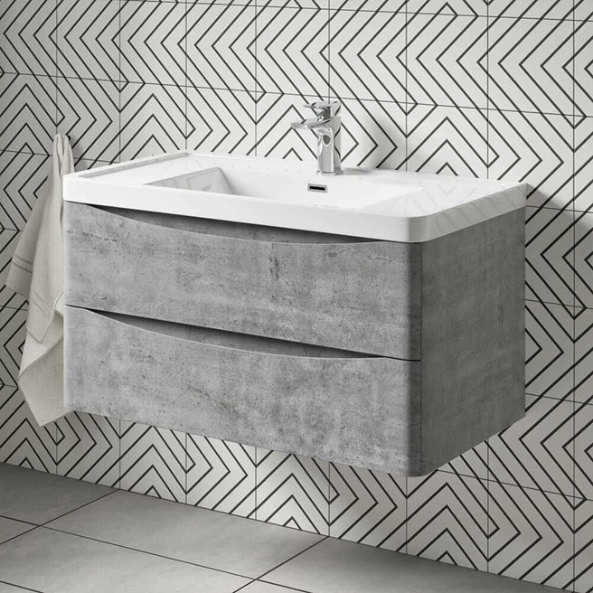 Harbour Clarity 900mm Wall Mounted Vanity Unit & Basin - Concrete