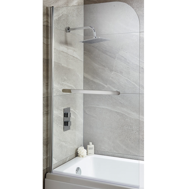 Harbour i6 Easy Clean 6mm Round Bath Screen & Towel Rail - 1400 x 800mm