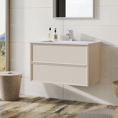 Harbour Form 800mm Wall Mounted Vanity Unit & Basin - French Blush