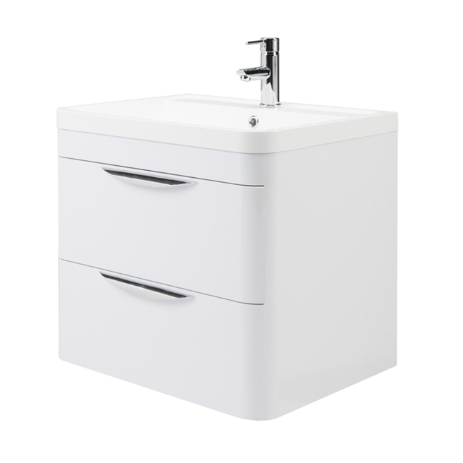 Harbour Grace 600mm Wall Mounted Vanity Unit & Basin in Gloss White