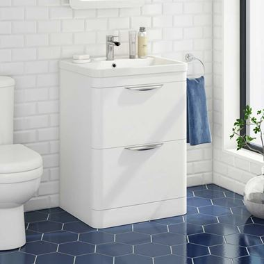 Harbour Grace 600mm Floorstanding Vanity Unit & Basin in Gloss White