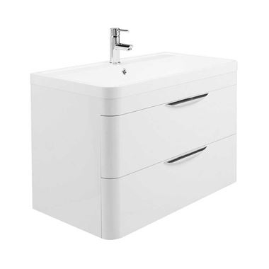 Harbour Grace 800mm Wall Mounted Vanity Unit & Basin in Gloss White