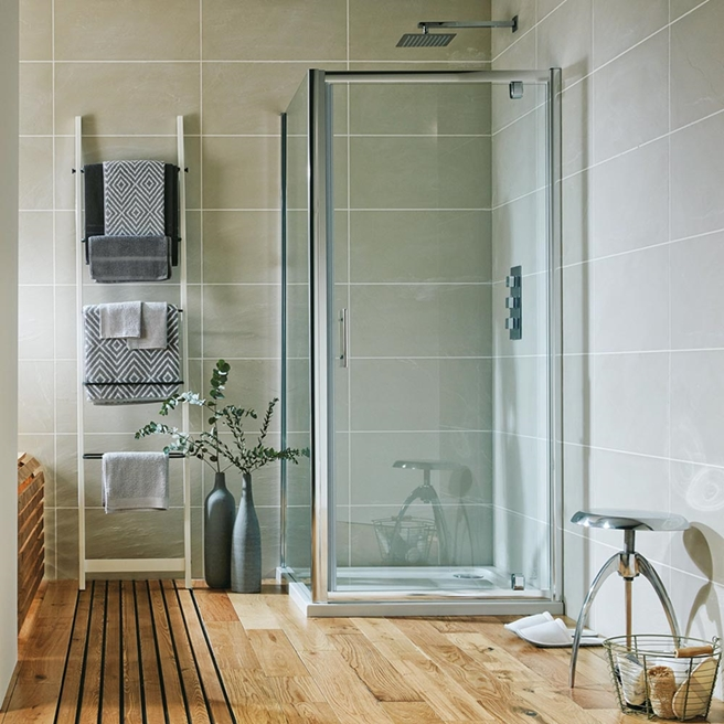 Harbour i6 Easy Clean 6mm Pivot Shower Door & Optional Side Panel