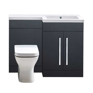 Harbour Icon 1100mm Combination Bathroom Toilet & Sink Unit - Anthracite Grey