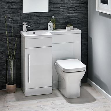 Harbour Icon 900mm Spacesaving Combination Bathroom Toilet & Sink Unit - White Gloss