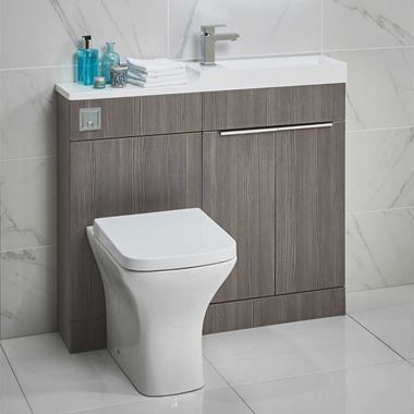 Harbour Icon Compact 1000mm Combination Basin & Toilet Unit - Avola Grey