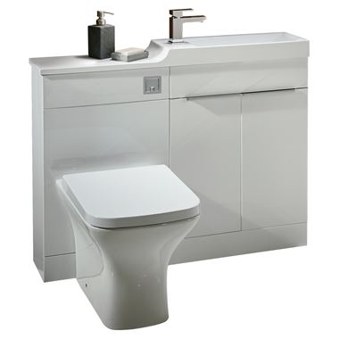 Harbour Icon Compact 1000mm White Gloss Combination Basin, Toilet Unit & Vellamo Aspire Back to Wall Toilet with SC Seat