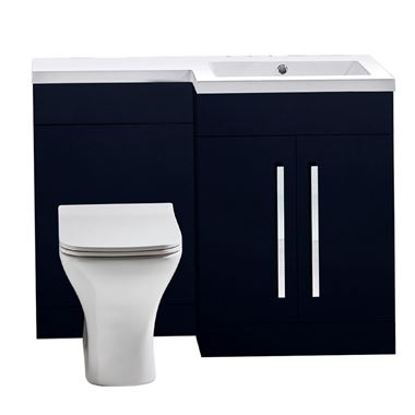 Harbour Icon 1100mm Spacesaving Combination Bathroom Toilet & Sink Unit - Indigo Blue
