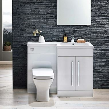 Harbour Icon 1100mm Spacesaving Combination Bathroom Toilet & Sink Unit - White Gloss