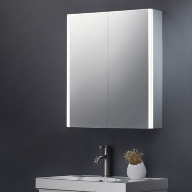 Harbour Icon Double Door LED Bathroom Mirror Cabinet with Shaver Socket - 700 x 600mm