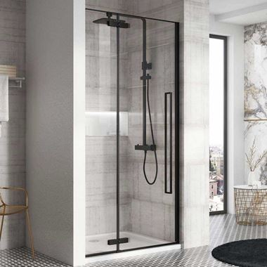 Harbour Icon Matt Black 8mm 2m Tall Easy Clean Hinged Shower Door & Optional Side Panel
