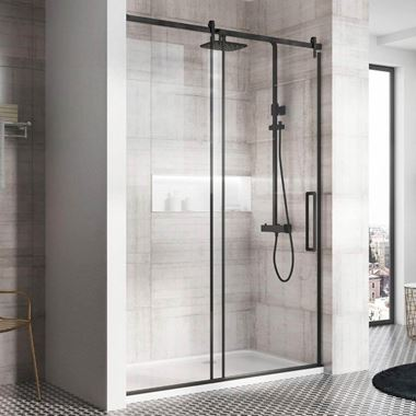 Harbour Icon Matt Black 8mm 2m Tall Easy Clean Sliding Shower Door & Optional Side Panel