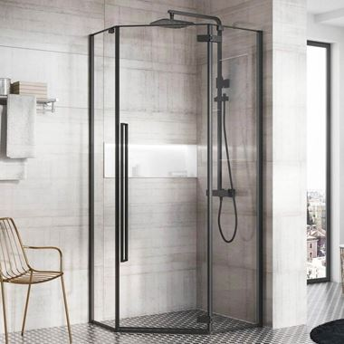 Harbour Icon Matt Black 8mm 2m Tall Easy Clean Pentagonal Pivot Shower Enclosure - 900 x 900mm