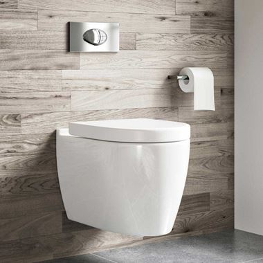 Harbour Icon Wall Hung Toilet, Seat, Wall Hung Frame & Flush Plate - 505mm Projection