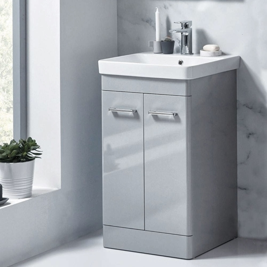 Harbour Identity 500mm Floorstanding, Pebble Grey Bathroom Cabinets