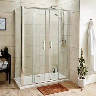 Harbour Primrose Easy Clean 6mm Double Sliding Shower Door & Optional Side Panel