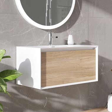Harbour Scene 750mm Wall Mounted Vanity Unit & Basin - White/Oak