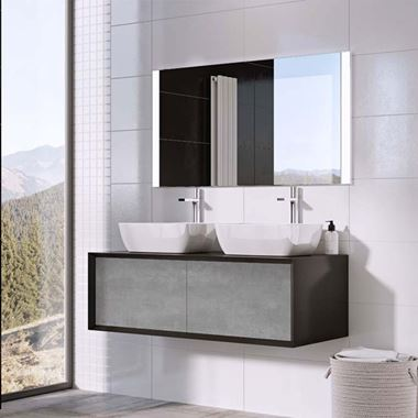 Harbour Scene 1200mm Wall Mounted Countertop Vanity Unit - Gloss Black/Concrete