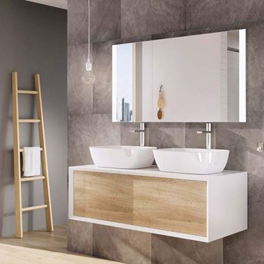 Harbour Scene 1200mm Wall Mounted Countertop Vanity Unit - Gloss White/Oak